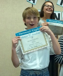 Michael and his Honor Roll award!